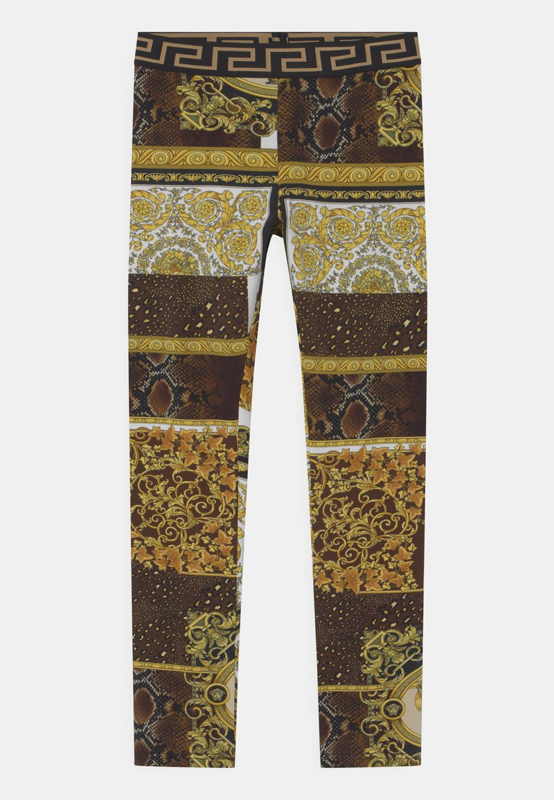 Versace - PATCHWORK HERITAGE ANIMALIER - Leggings - Trousers - gold/brown/white