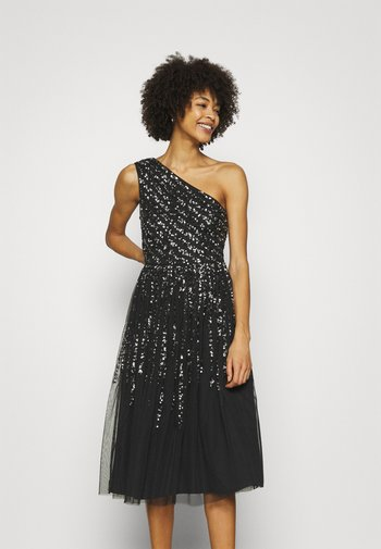ONE SHOULDER EMBELLISHED MIDI DRESS - Koktejlové šaty/ šaty na párty - black