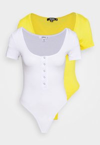 Missguided - POPPER SHORT SLEEVE BODYSUIT 2 PACK  - T-shirt basique - gold fusion/white - 5