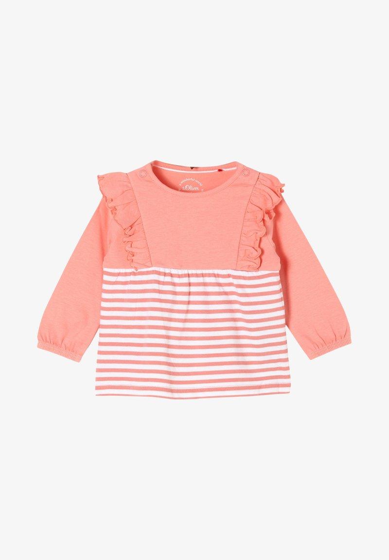 s.Oliver - MET RUCHES - Long sleeved top - light pink stripes