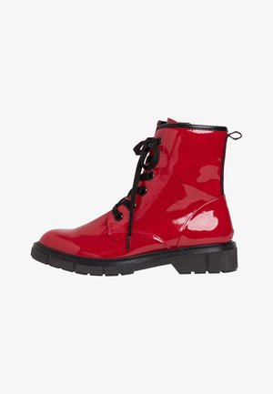 Lace-up ankle boots - red pat. comb