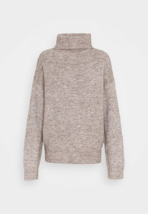 BASIC-TURTLE NECK OVERSIZED - Strikkegenser - taupe