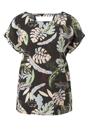 WITH BACK DETAIL - Blouse - black tropical print