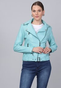 Basics and More - Leather jacket - mint - 4