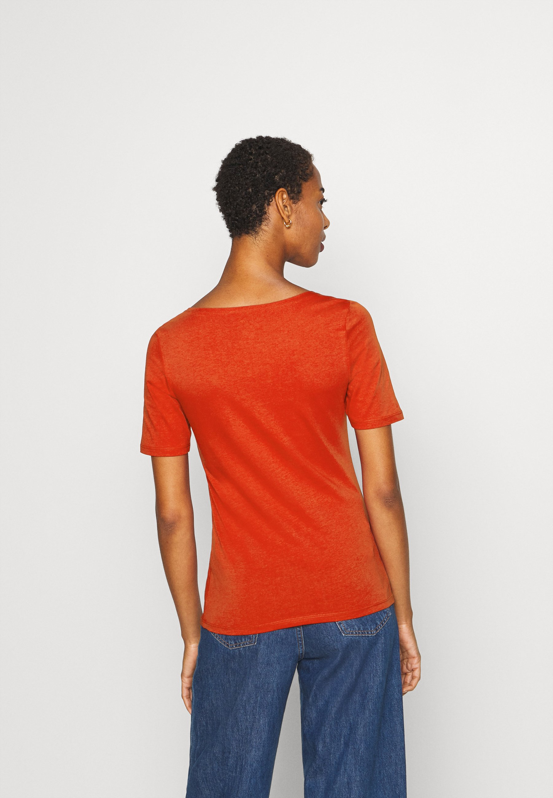 Marc O'polo Short Sleeve Round Neck Solid - T-shirts Med Print Bright Seaberry/rød