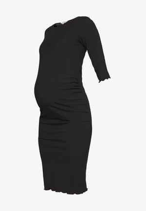 3/4 SLEEVE LETTUCE EDGE MIDI BODYCON DRESS - Jersey dress - black