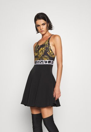 DRESS - Jersey dress - black/gold
