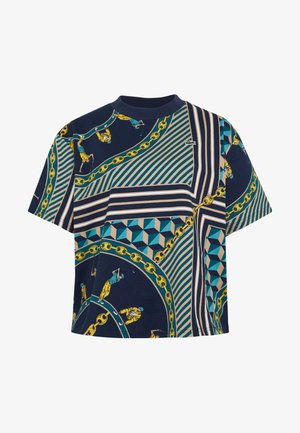 Print T-shirt - navy blue/multicolor