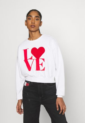ONLLOVE LIFE O NECK - Sweatshirt - bright white