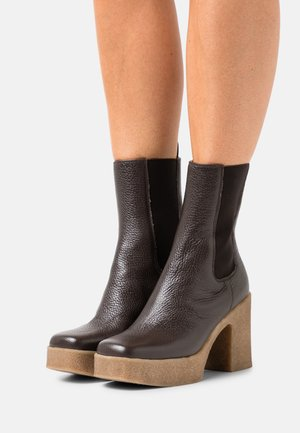 STRETCH - Kotníková obuv na vysokém podpatku - seal brown dollaro
