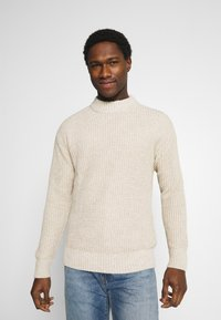 Selected Homme - SLHNATHAN HIGH NECK - Stickad tröja - oyster gray - 0