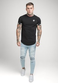 SIKSILK - RAGLAN TECH TAPE TEE - T-shirt - bas - black - 1