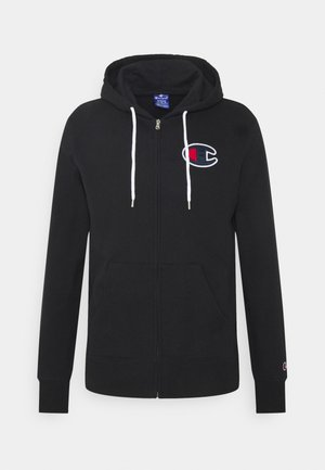 HOODED FULL ZIP - veste en sweat zippée - black