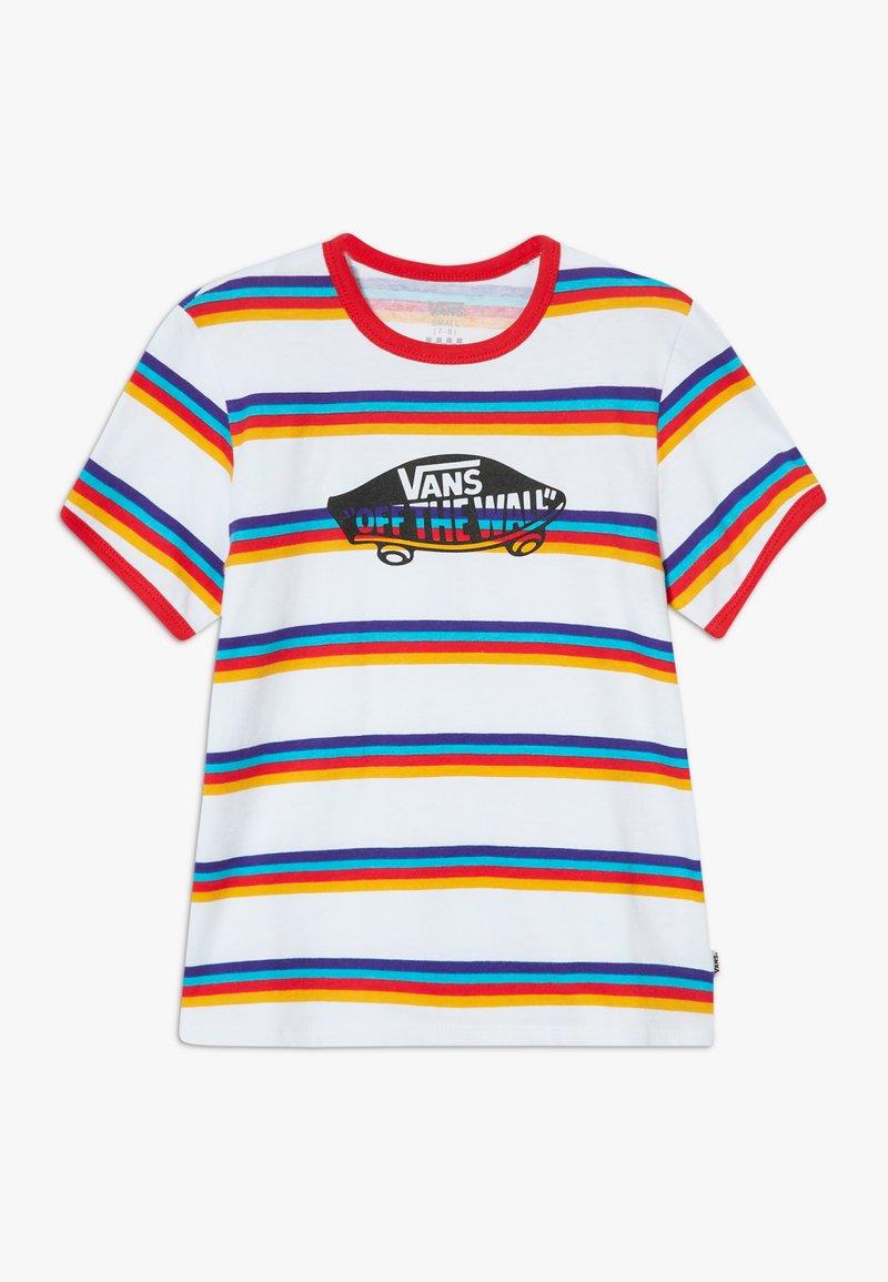 Vans - STRIPE - T-shirt z nadrukiem - white/caribbean sea