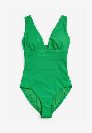 SCULPT AND SHAPE PINTUCK PLUNGE - Swimsuit - green