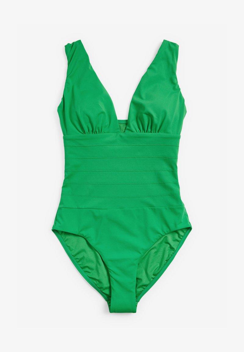 Next - SCULPT AND SHAPE PINTUCK PLUNGE - Swimsuit - green