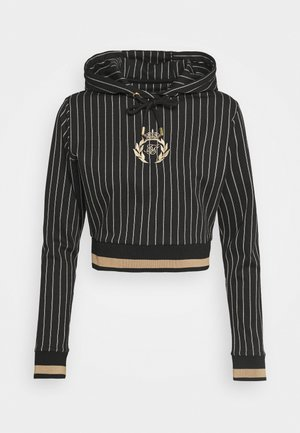 BASEBALL STRIPE CROPPED HOODIE - Hoodie - black