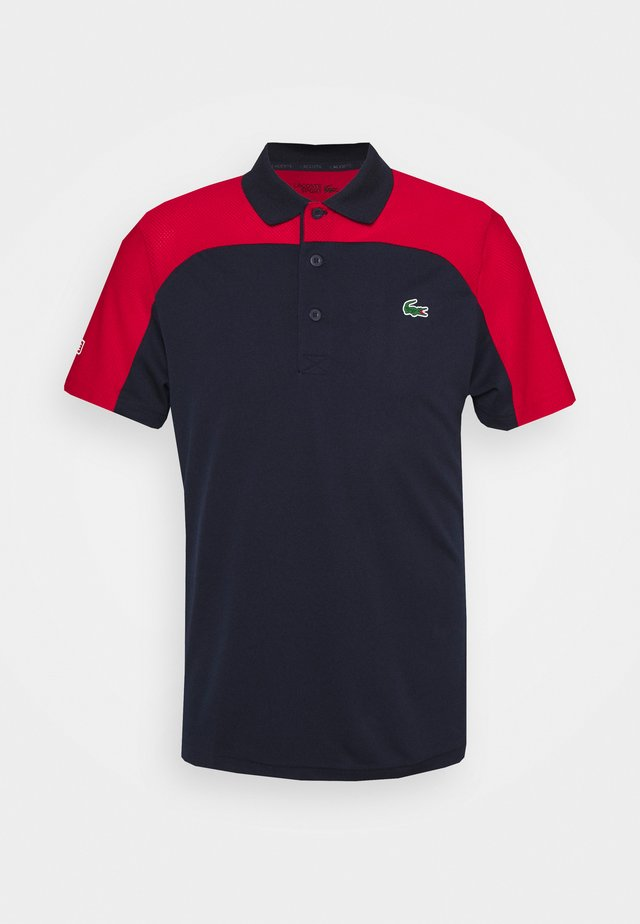 TENNIS - Polo - navy blue/ruby/white