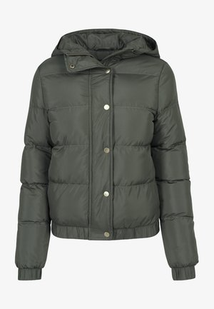 LADIES HOODED PUFFER - Winter jacket - darkolive