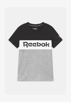 COLOR BLOCK - Print T-shirt - grey/black/white