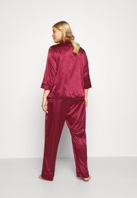 Playful Promises - LONG WITH CONTRAST PIPING - Pyjama set - wine - 2