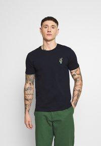 Burton Menswear London - EMBROID 2 PACK - Basic T-shirt - navy/khaki - 1
