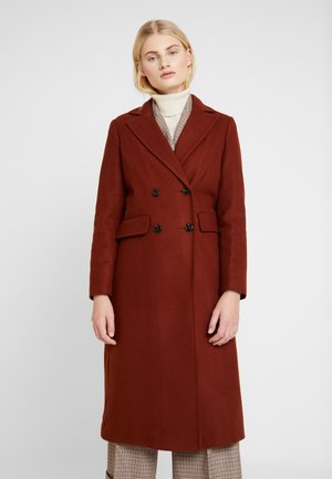 MIDI DOUBLE BREASTED - Classic coat - tobacco