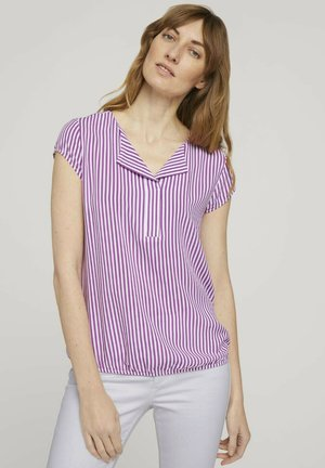 Blouse - lilac white vertical stripe