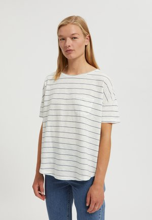 MELINAA STRIPES - Print T-shirt - oatmilk-foggy blue