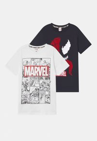 OVS - SPIDERMAN 2 PACK - T-shirt con stampa - black beauty/bright white - 0