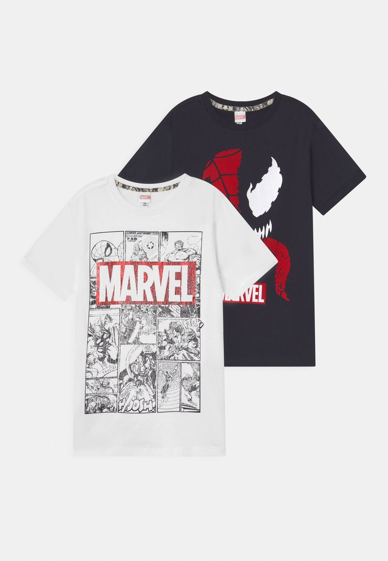 OVS - SPIDERMAN 2 PACK - T-shirt con stampa - black beauty/bright white