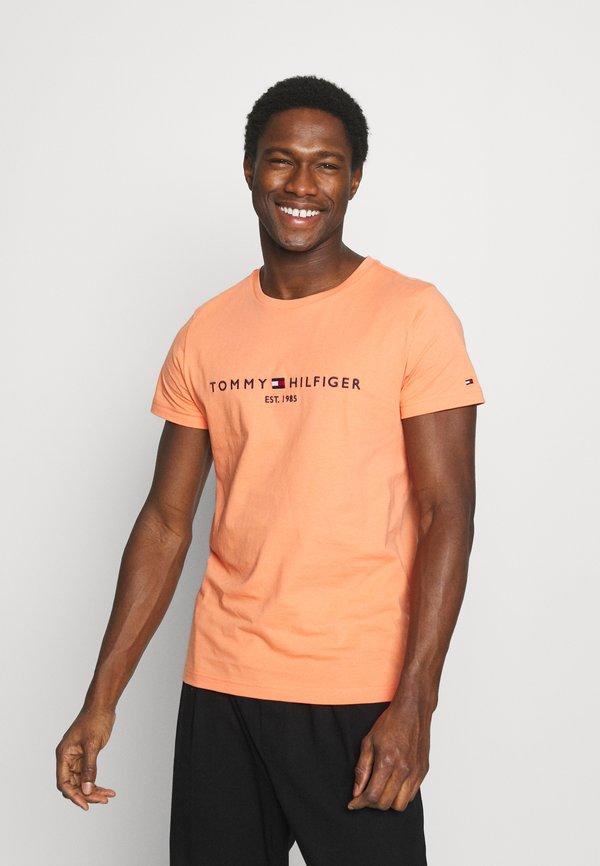 Tommy Hilfiger LOGO TEE - T-shirt z nadrukiem - summer sunset/pomarańczowy Odzież Męska VWUK