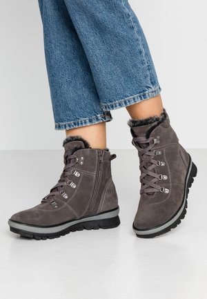 Lace-up ankle boots - cigar