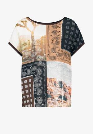 T-shirt con stampa - braun/lila/pink druck