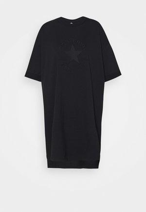 CHUCK EXTRA LONG EMBROIDERED TEE - Trikoomekko - black