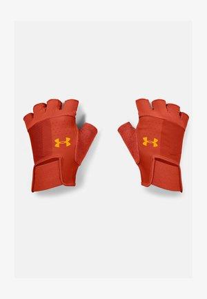 Fingerless gloves - orange/black
