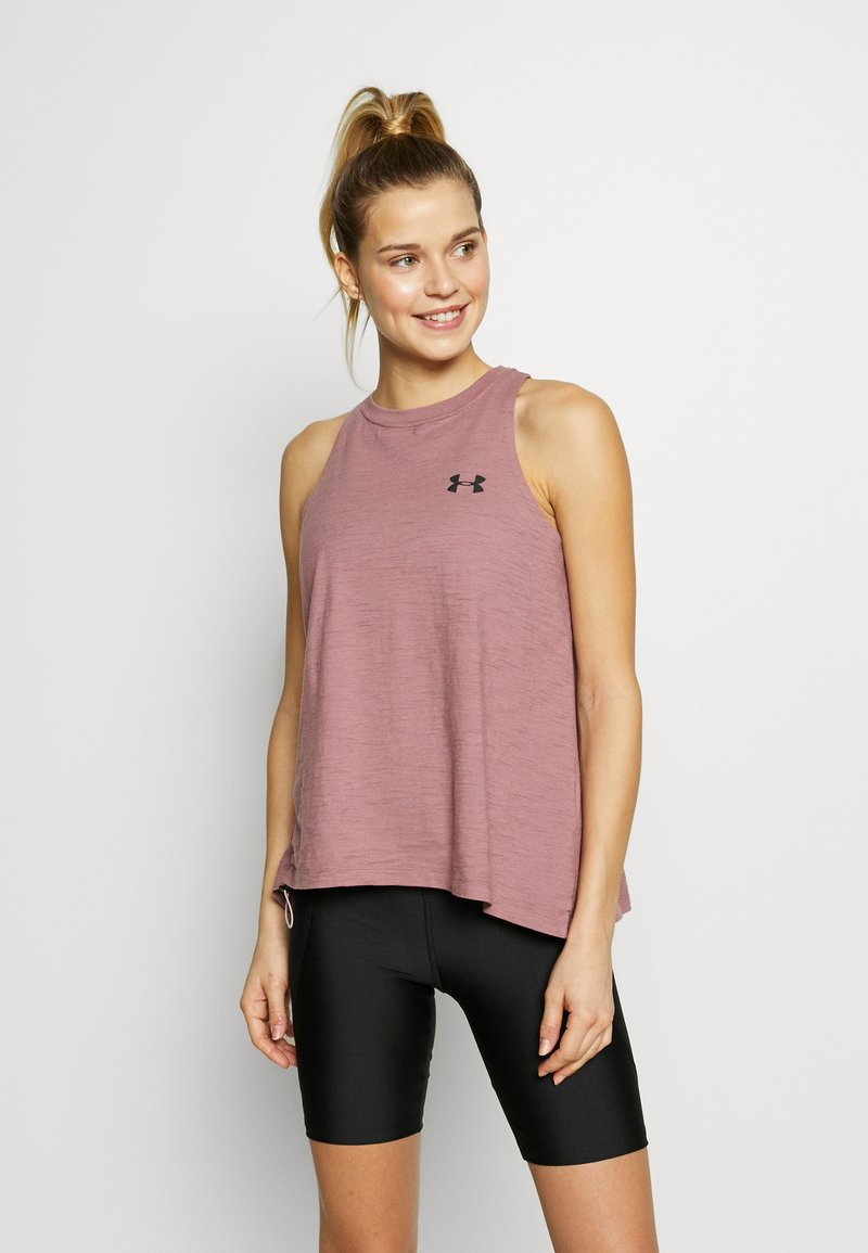 Under Armour - CHARGED TANK - Sportshirt - hushed pink/white