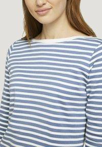 TOM TAILOR DENIM - CONTRAST NECK - Long sleeved top - white blue stripe - 3