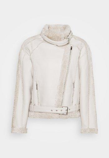 PREMIUM BORG BELTED AVIATOR - Faux leather jacket - cream