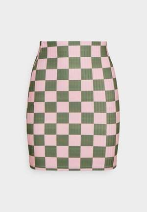 CHECKERBOARD MINI SKIRT - Mini skirt - pink