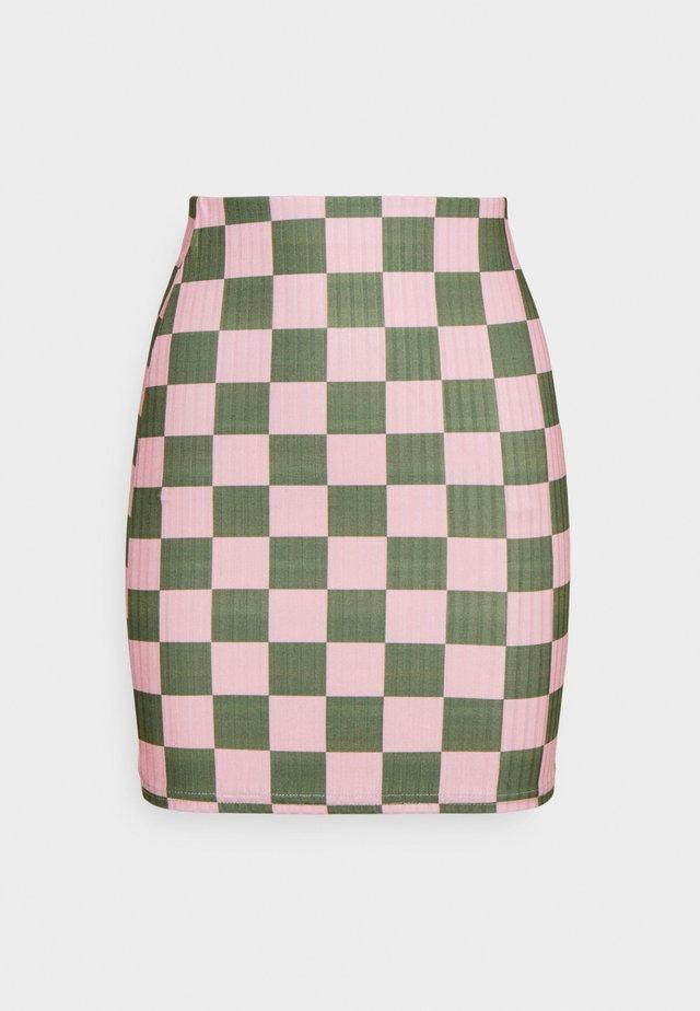CHECKERBOARD MINI SKIRT - Minirok - pink