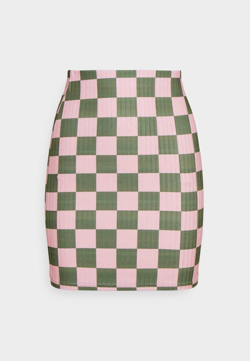NEW girl ORDER - CHECKERBOARD MINI SKIRT - Mini skirt - pink