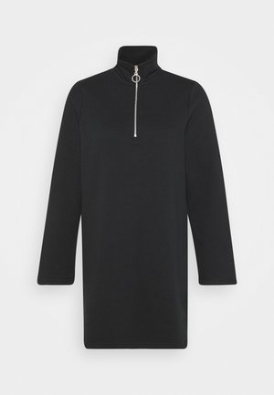 SWEAT HIGH NECK MINI DRESS WITH HALF ZIP THROUGH - Day dress - black