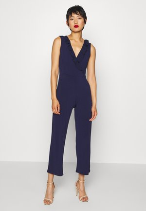 OCCASION - SLEEVELESS VOLANT NECKLINE JUMPSUIT - Jumpsuit - evening blue