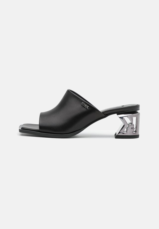 BLOCK SQUARE TOE MULE - Heeled mules - black