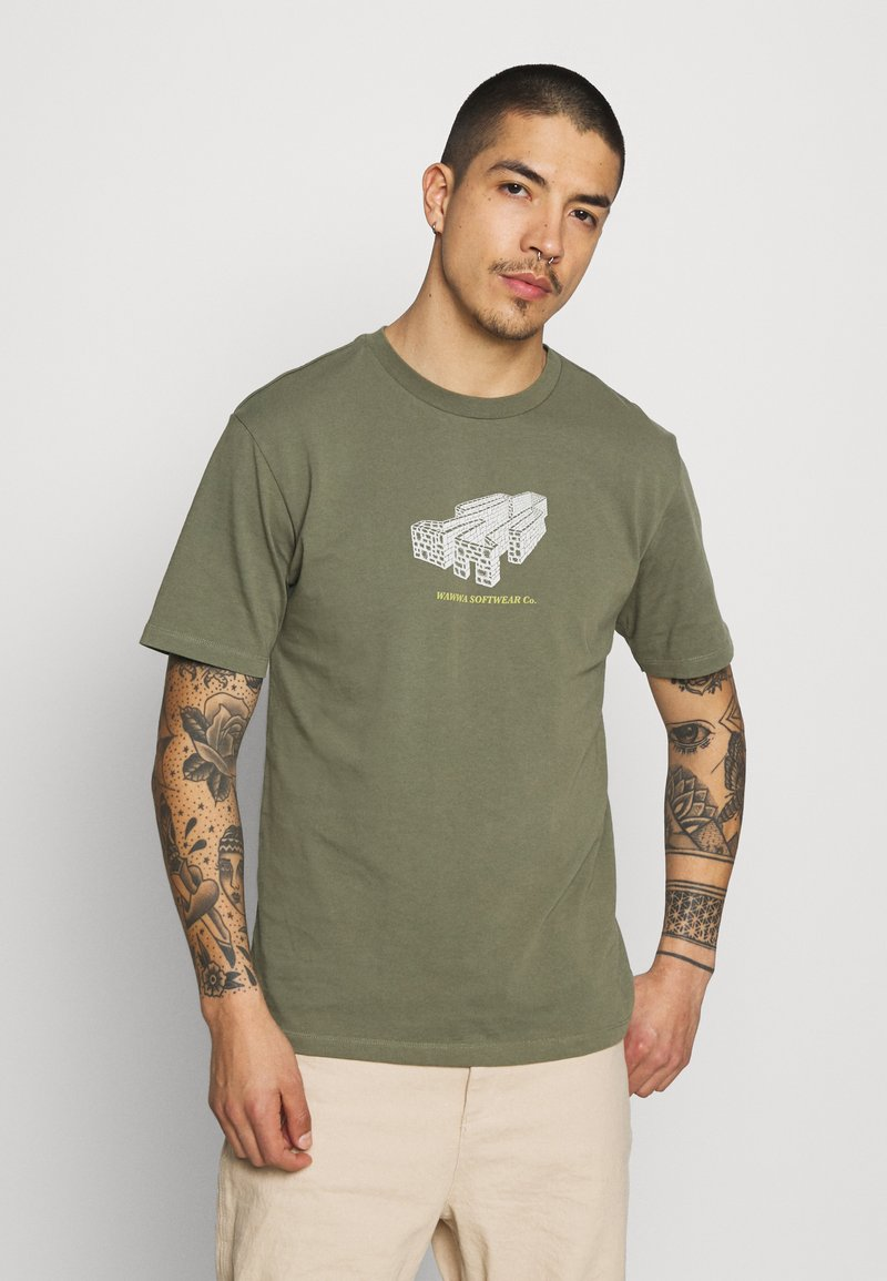 WAWWA - PAVILION UNISEX - Print T-shirt - khaki green