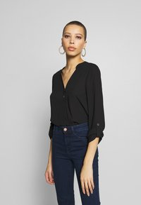 Dorothy Perkins - DOUBLE BUTTON COLLARLESS ROLL SLEEVE - Bluser - black - 0