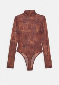 CROC PRINT HIGH NECK BODYSUIT - Long sleeved top - terracotta