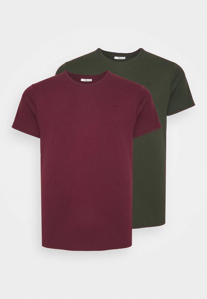 LTB - 2 PACK - Basic T-shirt - bordeaux/olive