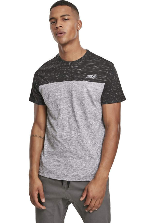 HERREN COLOR BLOCK TECH TEE - T-shirt imprimé - marled grey